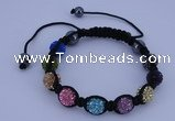 CFB571 10mm round rhinestone with hematite beads adjustable bracelet