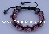 CFB575 12mm round rhinestone with hematite beads adjustable bracelet