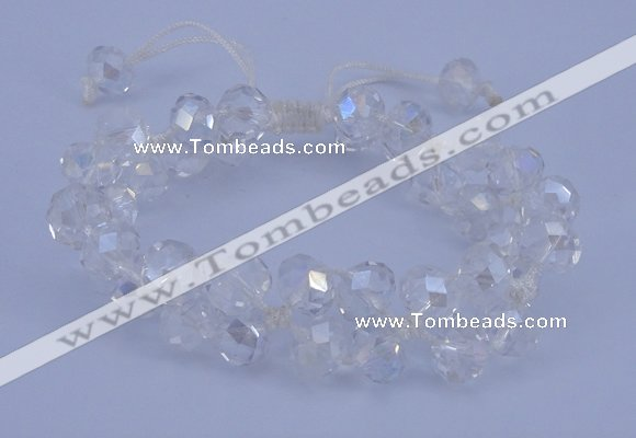 CFB580 8*10mm faceted rondelle crystal beads adjustable bracelet