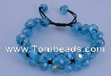 CFB582 8*10mm faceted rondelle crystal beads adjustable bracelet