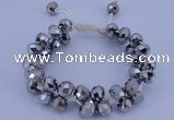 CFB585 8*10mm faceted rondelle crystal beads adjustable bracelet