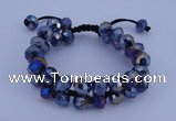 CFB586 8*10mm faceted rondelle crystal beads adjustable bracelet