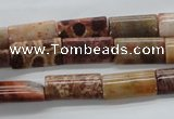 CFC100 15.5 inches 8*16mm flat tube fossil coral beads wholesale