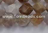 CFC302 15.5 inches 10mm faceted nuggets coral jade beads