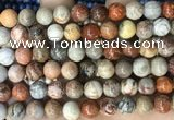 CFC343 15.5 inches 10mm round red fossil coral beads wholesale