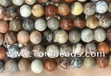 CFC344 15.5 inches 12mm round red fossil coral beads wholesale