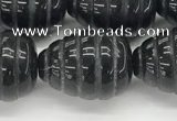 CFG1521 15.5 inches 15*20mm carved teardrop black agate beads