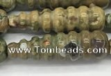 CFG1531 15.5 inches 10*35mm carved teardrop rhyolite gemstone beads