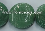 CFG204 15.5 inches 31mm carved coin green aventurine jade beads