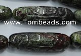 CFG210 15.5 inches 12*40mm carved rice dragon blood jasper beads