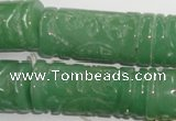 CFG213 15.5 inches 14*31mm carved column green aventurine jade beads