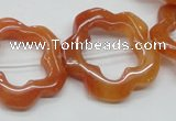 CFG35 15.5 inches 30mm carved flower red aventurine jade beads
