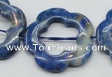 CFG41 15.5 inches 35mm carved flower lapis lazuli gemstone beads