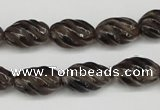 CFG55 15.5 inches 10*16mm carved rice smoky quartz beads