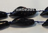 CFG569 15.5 inches 14*28mm carved trumpet flower blue goldstone beads