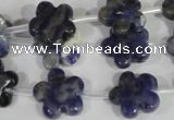 CFG669 15.5 inches 15mm carved flower sodalite gemstone beads