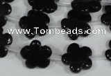 CFG675 15.5 inches 15mm carved flower black obsidian beads