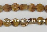 CFG69 15.5 inches 10mm carved flower yellow tiger eye gemstone beads
