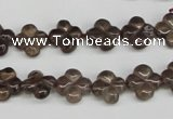 CFG76 15.5 inches 11*11mm carved flower smoky quartz beads