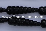 CFG761 15.5 inches 10*35mm carved teardrop black agate beads