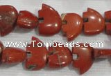 CFG777 15.5 inches 10*15mm carved animal red jasper beads