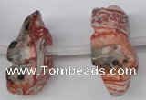 CFG863 Top-drilled 12*18mm carved animal red zebra jasper beads