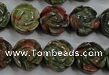 CFG891 15.5 inches 14mm carved flower unakite gemstone beads