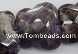 CFG917 30*33mm faceted & carved butterfly dogtooth amethyst beads