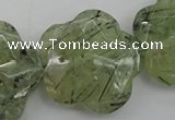 CFG923 32*33mm faceted & carved flower green rutilated quartz beads