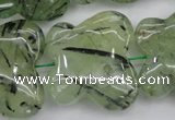 CFG925 15.5 inches 30*33mm carved butterfly green rutilated quartz beads