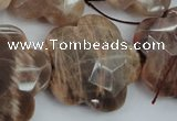 CFG931 15.5 inches 32*33mm faceted & carved flower moonstone beads