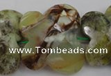 CFG939 30*33mm faceted & carved butterfly yellow & green opal beads