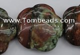 CFG941 15.5 inches 32*33mm carved flower green opal gemstone beads