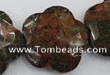 CFG942 32*33mm faceted & carved flower green opal gemstone beads