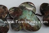 CFG945 30*33mm faceted & carved butterfly green opal gemstone beads