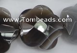 CFG948 32*33mm faceted & carved flower grey botswana agate beads