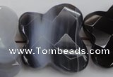 CFG951 30*33mm faceted & carved butterfly grey botswana agate beads