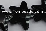 CFG954 15.5 inches 30*33mm faceted & carved star black agate beads