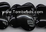 CFG959 15.5 inches 30*33mm carved butterfly black agate beads