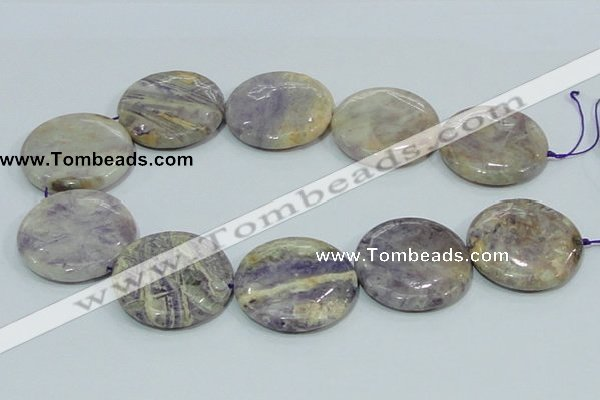 CFJ04 15.5 inches 40mm flat round natural purple flower stone beads