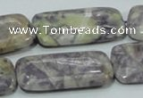 CFJ11 15.5 inches 15*30mm rectangle natural purple flower stone beads