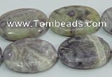 CFJ14 15.5 inches 18*25mm oval natural purple flower stone beads