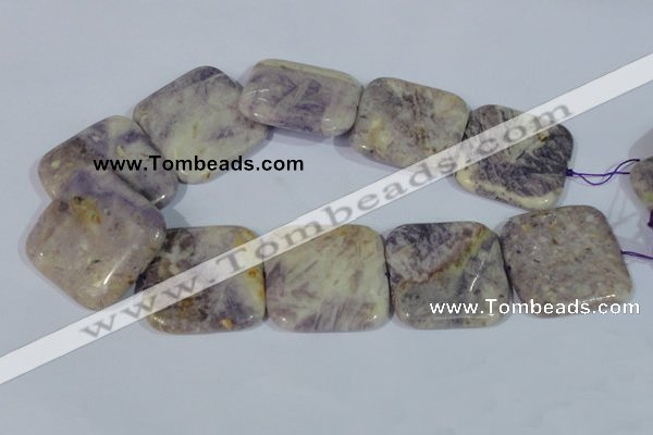 CFJ21 15.5 inches 40*40mm square natural purple flower stone beads