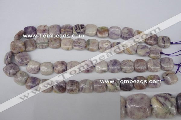 CFJ28 15.5 inches 15*15mm faceted rice natural purple flower stone beads