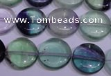 CFL1062 15 inches 12mm flat round natural fluorite gemstone beads