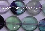 CFL1066 15 inches 20mm flat round natural fluorite gemstone beads