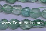 CFL1083 15 inches 10*13mm faceted nuggets green fluorite beads
