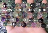 CLF1163 15.5 inches 10mm faceetd round fluorite gemstone beads