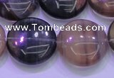 CFL1337 15.5 inches 20mm flat round purple fluorite gemstone beads