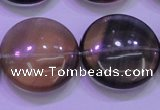 CFL1338 15.5 inches 25mm flat round purple fluorite gemstone beads